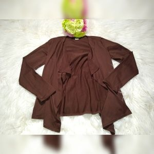 SCOTT TAYLOR ASYMETRICAL,BROWN,OPEN CARDIGAN.